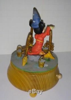 Disney Anri music box The Sorcerer's Apprentice Fantasia Mickey LTE Wood Carving