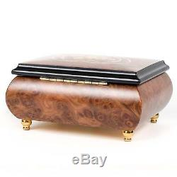 Double Hearts Italian Hand Crafted Inlaid Wood Jewelry Music Box