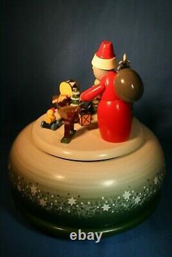 ERZGEBIRGE KWO Music Box Christmas Carved Wood REUGE/ROMANCE Germany Box