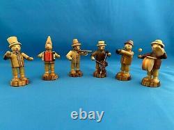 ERZGEBIRGE Musical Band German Figurines Miniatures Carved Wood Set of 6 BOX
