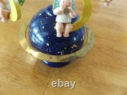 ERZGEBIRGE Wendt Kuhn THORENS Music Box Angel Globe Carved Wood Germany With BOX