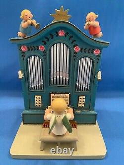ERZGEBIRGE Wendt Kuhn THORENS Music Box Angel Organ Carved Wood Germany
