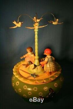 ERZGEBIRGE Wendt Kuhn THORENS Music Box Garden Work Carved Wood Germany