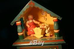 ERZGEBIRGE Wendt Kuhn THORENS Music Box Nursery Carved Wood East Germany BOX