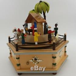 Erzgebirge Gunter German Christmas NATIVITY Music Box Carved Wood Swiss Carousel