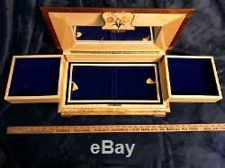 Extraordinary Retro Vtg Italian Inlaid Wood Jewel Reuge Music Box Emperor Waltz