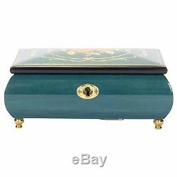 Flower Dark Blue Italian Hand Crafted Inlaid Wood Music Box Moonlight Sonata