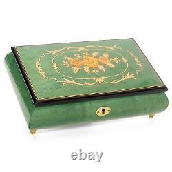 Glossy Green Flower Italian Hand Crafted Inlaid Wood Music Box Plays Water Music