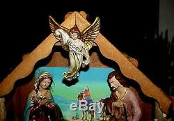 Gorgeous LARGE 1965 SEARS Nativity set w Music box lighted Wood Manger Japan 13