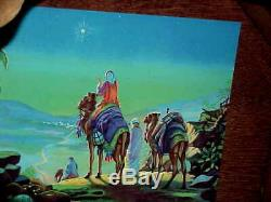 Gorgeous LARGE 1965 SEARS Nativity set w Music box lighted Wood Manger Japan 13