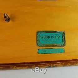 Hand Made Inlaid Wood German Music Box Plays Blue Danube