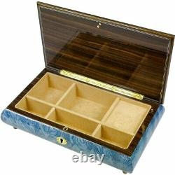 Handcrafted Wooden Blue Maple Burl Musical Jewellery Box with Marquetry Inlay