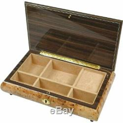 Handcrafted Wooden Maple Burl Musical Jewellery Box with Marquetry Inlay