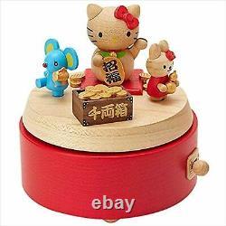 Hello Kitty Wooden Music Box Sanrio Lucky Cat Maneki-neko Figure characters move