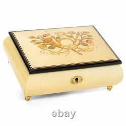 Horn White Italian Hand Crafted Inlaid Wood Music Box Plays Somewhere In Time