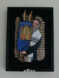Irwin Brown Rabbi Torah Judaica Collage Wood Wall Sculpture Music Box Jewish Art
