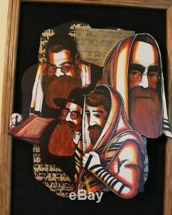 Irwin Brown Rabbi's Judaica Collage Wood Wall Sculpture Music Box Jewish Artwork