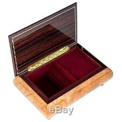 Italian Hand Crafted Inlaid Natural Wood Musical Box Claire de Lune