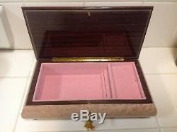 Italian Hand Crafted Inlaid Wood Musical Jewelry Box By Reuge With Key 10 Wide