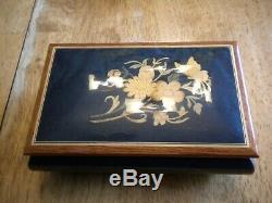 Italian Wood Swiss Music Box Inlaid Rare Blue Wood Floral Detail