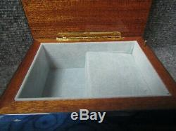 Italy Ercolano Torna A. Surriento Blue Wood Grained Inlaid with Flowers Music Box