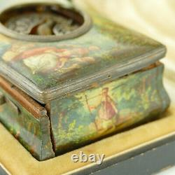 Juvenia Vintage Wood Singing Bird Box With Victorian Painting For Parts/repairs