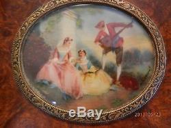 Key-wind Music Box 1800's Wood with hand painted insert on top
