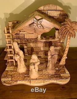 Large Nativity Set Music Box Olive Wood 13 Pieces