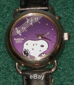 Lot 9 Boxed Wood/Glass SnoopyWoodstock Armitron Camp/Red Baron/Musical Watches