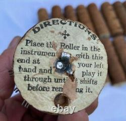 Lot of 16 Vintage Concert Roller Organ Cobs Music Box Pinned Wood Cylinders