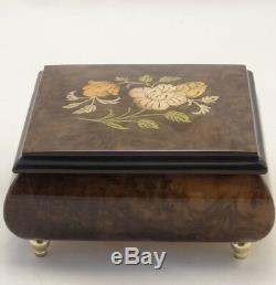 Made In Italy Sorrento Burl walnut high gloss music box with flowers inlay