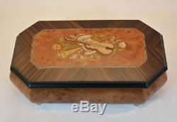 Made in Italy Sorrento Burl Walnut Matte Finish Violin Music Box Sankyo 18 notes