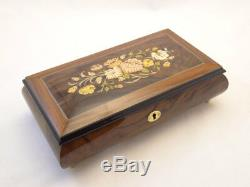 Made in Italy Sorrento High Gloss Burlwalnut Jewelry Music Box with Floral Inlay