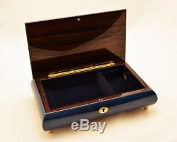 Made in Italy Sorrento Large Dark Blue Musical Inlay Jewelry Music Box