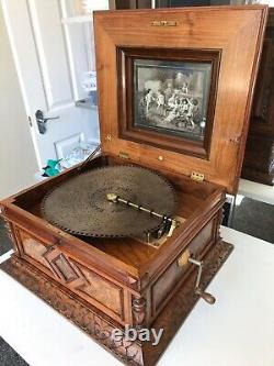 Magnificent Walnut Table Disc Polyphon Musical Box