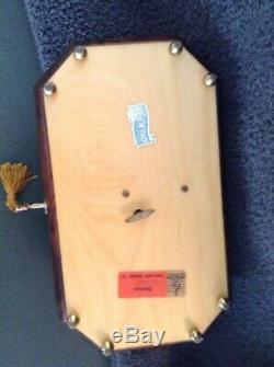 Mapsa Italian Wood Swiss Music Box Inlaid Wood Floral Detail Plays Edelweiss
