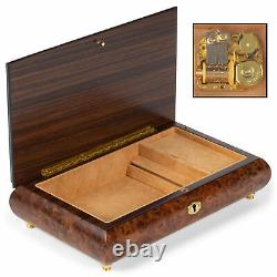 Matte Brown Filigree 10 x 6 Inlaid Wood Musical Jewelry Box Plays 18th Variation