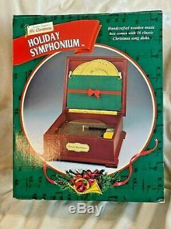 Mr Christmas Holiday Symphonium Burl Wood Music Box 16 Song Discs NIB