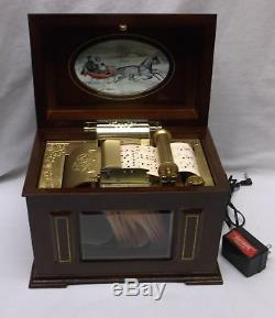 Mr. Christmas Wood Victorian Sleighride 15 CAROL Scroll Playing Music Box MINT