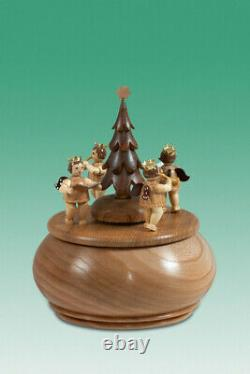 Music Box Engelgruppe With Christmas Tree Nature D =15 CM New Game Clock Wood