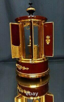 NEAR MINT! Vintage Reuge Carousel Music Box Minuet & Blue Danube Gold Brass Wood