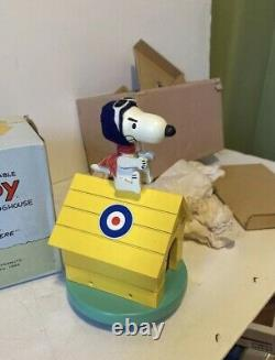 NEW IN BOX Vintage Snoopy Flying Ace Dog House Music Box 1968 Plays Over There