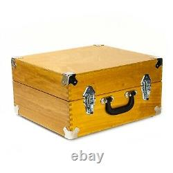 NEW XL Professional DJ 7 single 45 record case box handmade in wood OAK