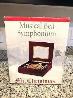 NIB vtg 2001 Mr. Christmas Musical Bell Symphonium Wood Musical Box Xmas Carols