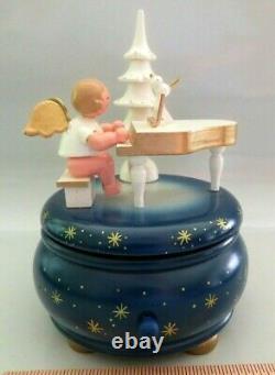 Nwt Wood Erzgebirge Ulbricht Reuge Turning Music Box, Angel, Piano, Xmas Tree