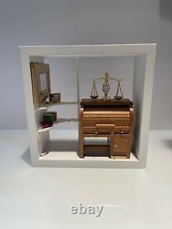 OOAK Open Shadow Box Lawyer Attorney Office Diorama Wall Frame Gift Figurine