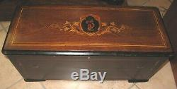 P. V. F St Croix 9 Cylinder Lever Action Music Box Rosewood Marquetry Case ca1870