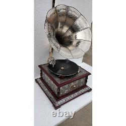 Phonograph Working Vintage Wooden Gramophone Music Box Brass And Wood
