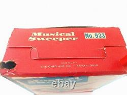 RARE Ohio Art Wood Tin Litho 933 Musical Sweeper Toy in Box Unused NOS