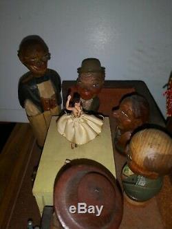 RARE Vintage ANRI Hand-Carved Wood Music Box bottle opener stopper